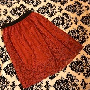 Lularoe Lace Lola Midi Skirt with Roses